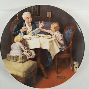 1985 Norman Rockwell - The Gourmet - 8.5in Plate - Older Man, Two Girls Eating