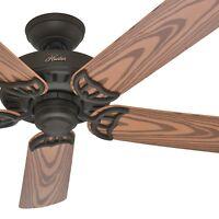 """Hunter Fan 52"""" Outdoor Ceiling Fan in New Bronze with 5 Oak Plastic blades"""