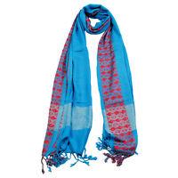 Powder Blue Soft Rectangle Women's Hijab Scarf with Tassle Orange Stitch Design