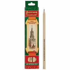 Siberia Black Pencils Graphite Set 6 pcs Wood  Sketch Drawing Русский Карандаш