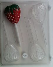 STRAWBERRY LOLLIPOP CLEAR PLASTIC CHOCOLATE CANDY MOLD AO091