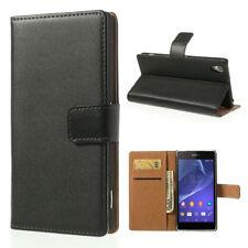 Sony Xperia Z2 Handy Tasche Wallet Case Echt Leder Magnet Schutz Hülle Schwarz