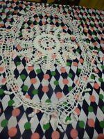 lot= pompons dentelle crochet faite main coton  ,ovale +napperon rond fait main