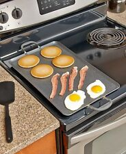 Black Nonstick Double Burners Griddle Breakfast Stove Top Cooker Kitchen Meals
