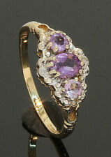 9 Carat Yellow Gold 3 x Amethyst & Diamond Ring Size O  (80.19.476)