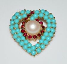 VTG Rare CROWN TRIFARI Gold Tone Blue Cabochon Red Rhinestone Heart Brooch Pin