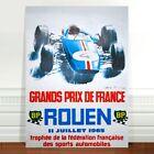 "Vintage Car Race Poster Art ~ CANVAS PRINT 8x10"" ~ Grand prix Rouen"