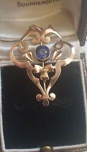 9 Carat Gold Art Nouveau Antique Lavaliere Blue Sapphire Necklace Pendant chain