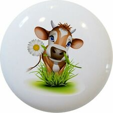 Cow and Daisy Cabinet DRAWER Pull KNOB Ceramic