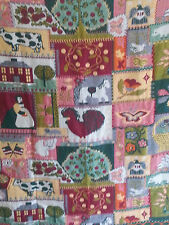 "Throw Blanket Patchwork Handmade Cows Horses Barns Flowers  56"" x 48"""