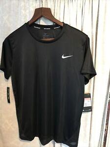 womens Nike dri- fit running t shirt black L bnwt