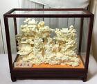 Chinese Hand Carved Bovine Bone Figure Guan Gong Yu Pagoda Stork In Display Case