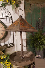 Vintage Chic Rusty Metal Hanging Bird Feeder~License Plate~BackYard Bird Watcher