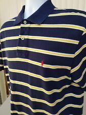 New NWOT Ralph Lauren Mens Polo Golf Shirt Striped Navy Blue Yellow Red Pony XL