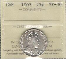1903 Twenty-Five Cents ICCS VF-30 Beautiful HIGH Grade SCARCE Edward VII Quarter