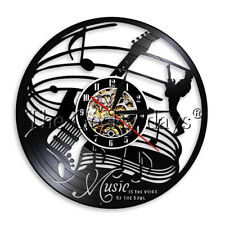Music Is The Voice Of Soul Vinyl Record Wall Clock Guitar Clock Music Lover Gift