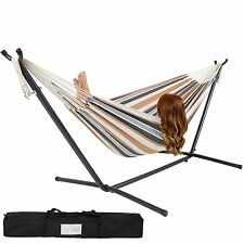 Double Hammock With Space Saving Steel Stand Includes w Portable Carrying Case