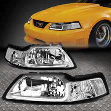 [LED DRL]FOR 99-04 FORD MUSTANG CHROME HOUSING CLEAR CORNER HEADLIGHT HEAD LAMPS