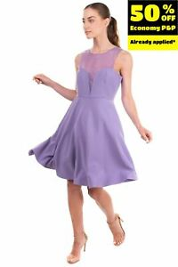 ANNARITA N Fit & Flare Dress Size 44 M See Through Insert Keyhole Made in Italy
