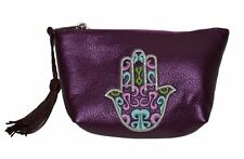 Moroccan Faux Leather Handbag Pouch Purse Women Hamsa  Make Up Bag Wallet Purple