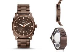 FOSSIL Men's Watch Machine Three-Hand Date Brown Wrist Stainless Steel New R£125