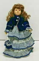 COLLECTIBLE DOLL BLUE WHITE DRESS CERAMIC FEET HANDS FACE