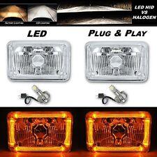 4X6 Amber Halo Angel Eye H4 Crystal Clear Headlight Headlamp w/ 6k LED Bulb Pair