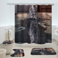 4pcs Tiger Cat Shower Curtain Bathroom Carpet Rug Toilet Cover Mat Set +Hooks