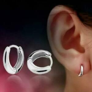Women Men Tiny Small Round Huggie Hoop Earrings 10mm 925 Sterling Silver Plated