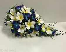 LATEX FRANGIPANI SILK BLUE SINGAPORE ORCHID TEARDROP WEDDING BOUQUET FLOWERS