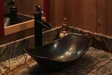 "17"" Oval Roman Copper Sleigh Vessel Sink with Lift and Turn DRAIN"