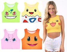 Pokemon Crop Tank Top T-Shirt Vest Pikachu Womens Girls