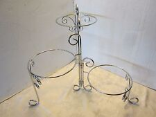 "VINTAGE STYLE Chrome Triple Planter Stand Home Plant holder Retro 24"" Metal"