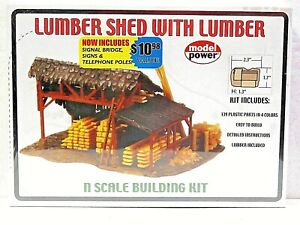 MODEL POWER 1580 N SCALE Building LUMBER SHED WITH LUMBER New