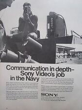 9/1970 PUB SONY US NAVY PACIFIC FLEET COMBAT CAMERA GROUP VIDEO ORIGINAL AD