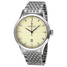 New Men's Invicta 12225 Vintage Swiss Champagne Textured Dial Steel Watch