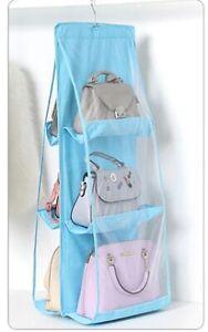 6 Pocket Handbag Storage Organizer Transparent Bag Anti-dust Cover Rack Hangers
