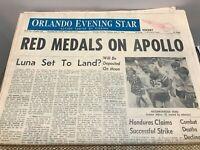 Apollo 11 - Landing Moon Walk Space Program 1969 Orlando Evening Star Newspaper