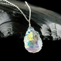 Aura Quartz Pendant Necklace 925 Sterling Silver Natural Raw Gemstone Women Gift