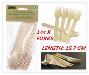 144 X ECO WOODEN CUTLERY BULK CATERING PACK FORK FORKS PARTY WEDDING EVENT AP
