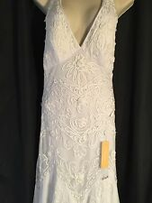 Chicas Formal Tulle Prom Wedding Dress Halter Gown Size XS White Beaded Braid