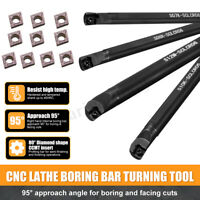Set Of 7 8 10 12mm SCLCR06 Turning Tool Lathe Boring Bar + 10x CCMT0602 Inserts