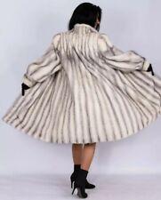 L Amazing White Silver cross Female Mink Fur Coat Class of Saga A-Line 100% Real