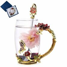 Unique Tea Cup Coffee Mug Set Gift Boxed Rose Butterfly Spoon 12 oz Mom Crystal