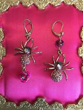 Betsey Johnson Enchanted Forest Pink Crystal Spider Rose Mismatch Earrings RARE