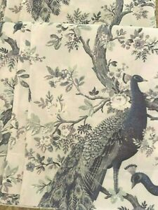 Laura Ashley Belvedere PEACOCK Floral Bird Window Panel Pair 38 x 84 Green Teal