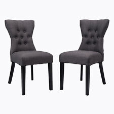 set of 2 dining chair modern armless tufted design living room furniture gray