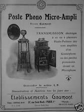 PUBLICITÉ 1924 GAUMONT POSTE PHONO MICRO-AMPLI - ADVERTISING