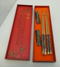 2 Pairs Chopsticks Rests Features Chinese Cherry Blossom Design