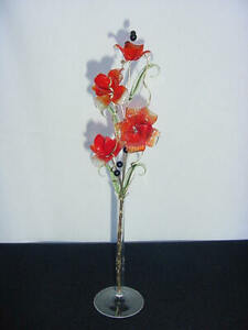 glass flowers TRANSLUCENT RED ON RED